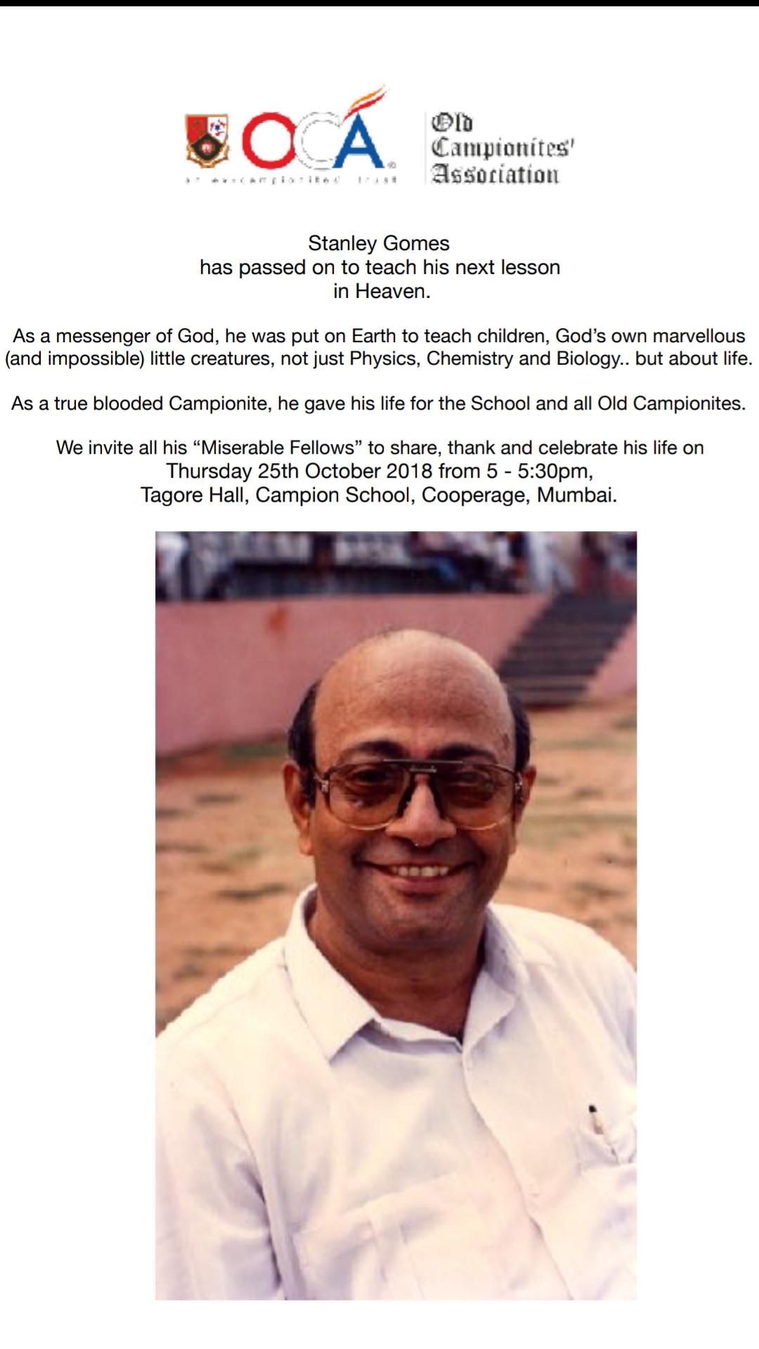 Prayer Meeting for Mr Stanley Gomes